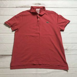 Lacoste Live Men's Red Short Sleeve Collared Regular Polo Golf Shirt Size 5